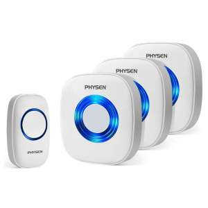 Physen Wireless doorbell with 3 receiver units and 1 push button. Multiple receivers can be added