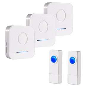 Bitiwend Wireless Doorbell Kit, 3 receivers and 2 push buttons