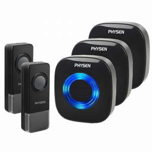 Physen Model CW wireless doorbell, 3 receivers, 2 push buttons