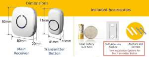 SadoTech Model CXR Wireless Doorbell Dimensions
