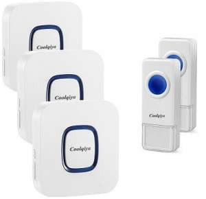 Coolqiya-Wireless-Doorbell, 3 receivers, 2 push buttons