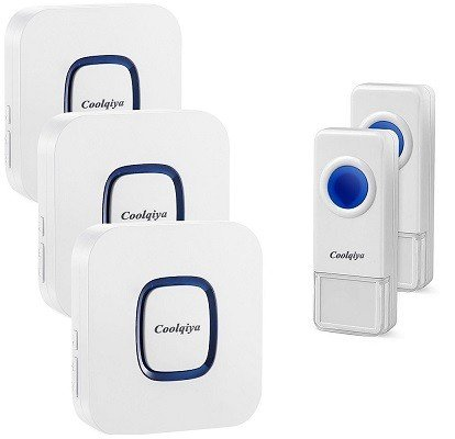Coolqiya Wireless Doorbell, 3 receivers, and 2 push buttons. Additional receivers are available