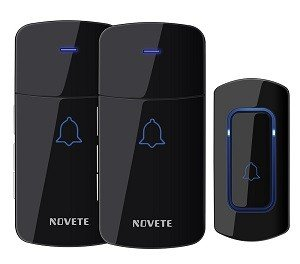 NOVETE Wireless doobell, block, 2 receivers, 1 push button with lighted button