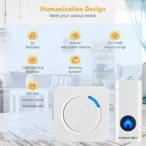 Homasy Mini Wireless Doorbell Design